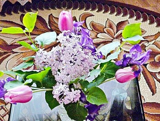 уход и посадка тюльпанов осенью - букет тюльпаны с сиренью